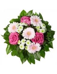 Гербер с рози и хризантеми